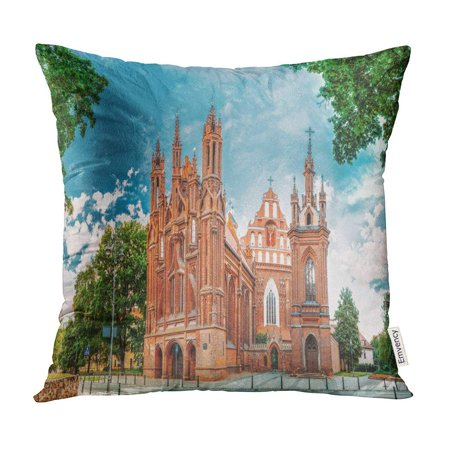 BOSDECO Vilnius Lithuania Panoramic View of Roman Catholic Church St Anne and Francis Bernard Pillow Case Pillow Cover 18x18 inch - image 1 de 1
