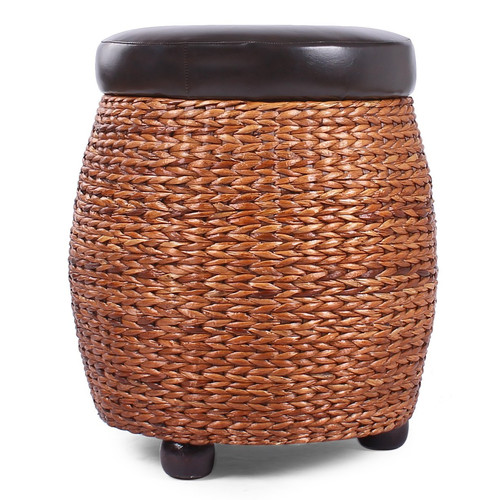 Adeco Round Storage Ottoman / Stool with Bulrush Body & Black Faux Leather Lid