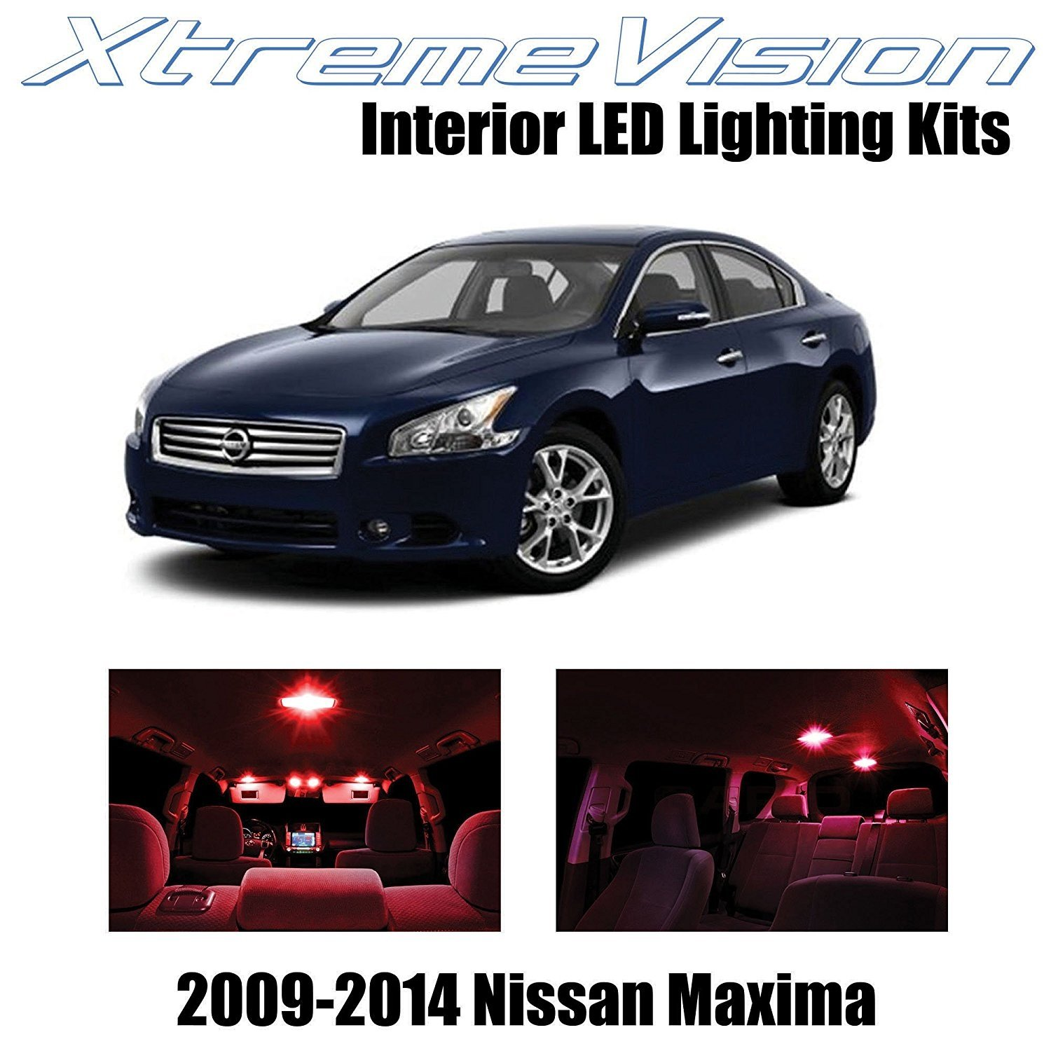 XtremeVision LED for Nissan Maxima 2009-2014 (14 Pieces) Red Premium Interior LED Kit Package + Installation Tool Tool