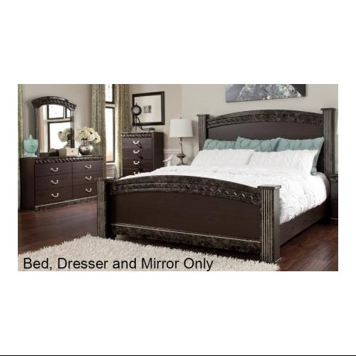 Ashley  Vachel Collection B264616764983136 3-Piece Bedroom Set with Queen Size Poster Bed  Dresser and Mirror in Dark