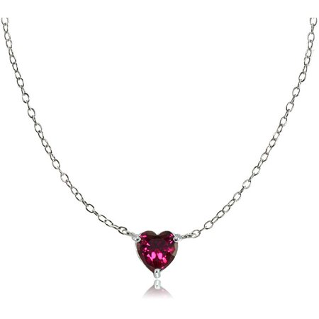 Created Ruby 925 Sterling Silver Small Dainty Heart Choker Necklace