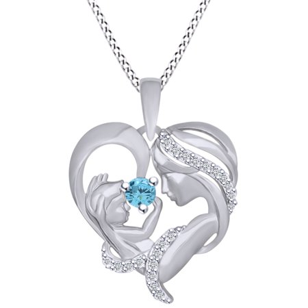 Round Cut Simulated Aquamarine & White Cubic Zirconia Mom With Child Heart Pendant Necklace In 14k White Gold Over Sterling (Cushion Cut Aquamarine Pendant)