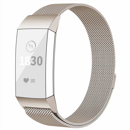 POY Metal Replacement Bands For Fitbit Charge 3 and Charge 3 SE Fitness Activity Tracker, Milanese Loop Stainless Steel Bracelet Strap with Unique Magnet Lock for Women Men