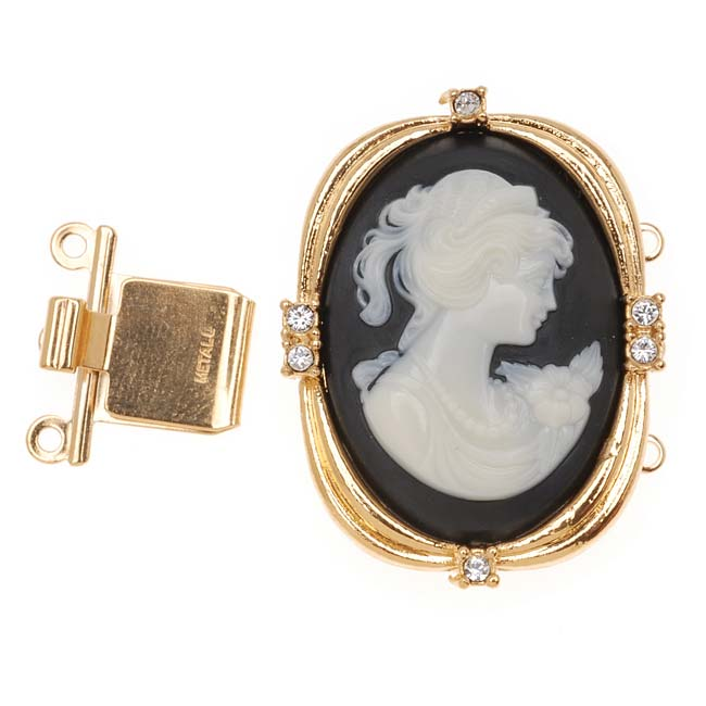 23K Gold Plated Box Clasp -Vintage Style Woman's Cameo With 6 SWAROVSKI ELEMENTS 30x24mm