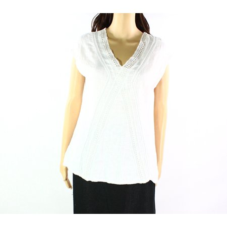 f04837fd6046e2 Elena Baldi - Elena Baldi NEW White Ivory Womens Size Large L Crochet  Detail Blouse - Walmart.com