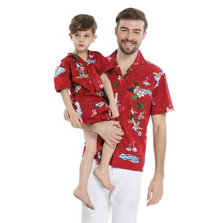 Matching Father Son Hawaiian Luau Outfit Christmas Men Shirt Boy Shirt Shorts Red Santa Flamingo S-8