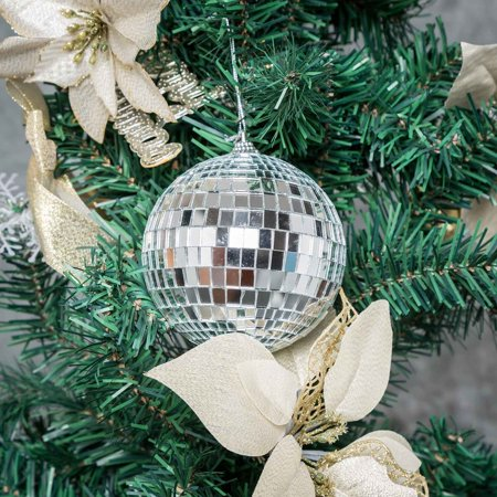 BalsaCircle 4 pcs 4-Inch Silver Mirror Disco Balls Hanging Glass Party Christmas Ornaments Wedding Home Decorations (Hanging Glass Balls)
