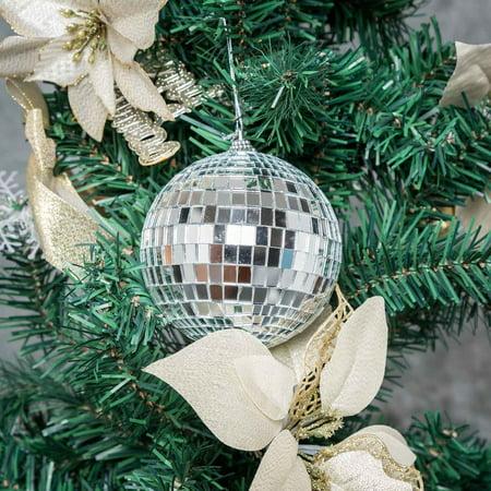 BalsaCircle 4 pcs 4-Inch Silver Mirror Disco Balls Hanging Glass Party Christmas Ornaments Wedding Home Decorations ()