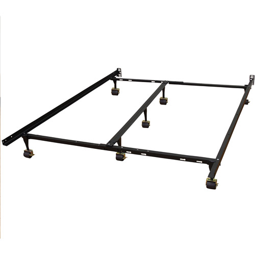 Modern Sleep Adjustable Metal Bed Frame Double Rail Center Support