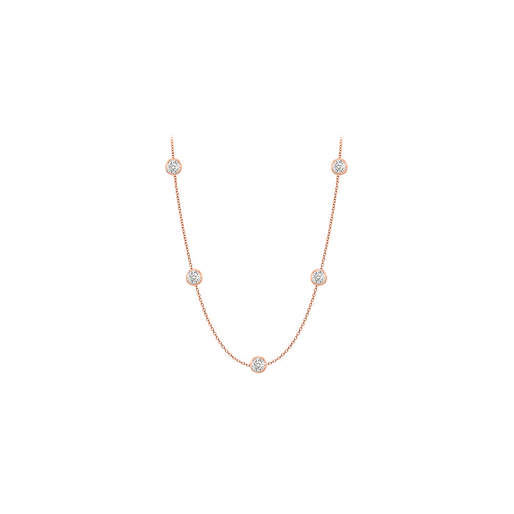 Diamonds Necklace in 14K Rose Gold Bezel Set 0.50 ct.tw by Love Bright