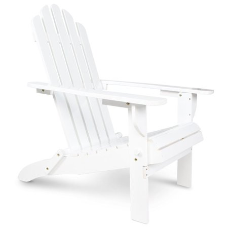 Wooden Patio Adirondack Chair Fan Back Design With White Painting For (Adirondack Fan Back Chair)