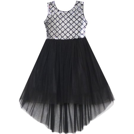 Sunny Fashion Girls Dress Sequin Mesh Party Wedding Princess Tulle Size 7-14 (Charcoal Flower Girl Dresses)