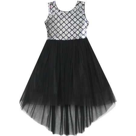 Sunny Fashion Girls Dress Sequin Mesh Party Wedding Princess Tulle Size 7-14 Mesh Dress Set