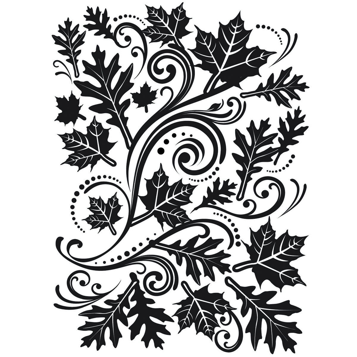 "Embossing Folder 4.25""X5.75""-Fall Leaf Background"