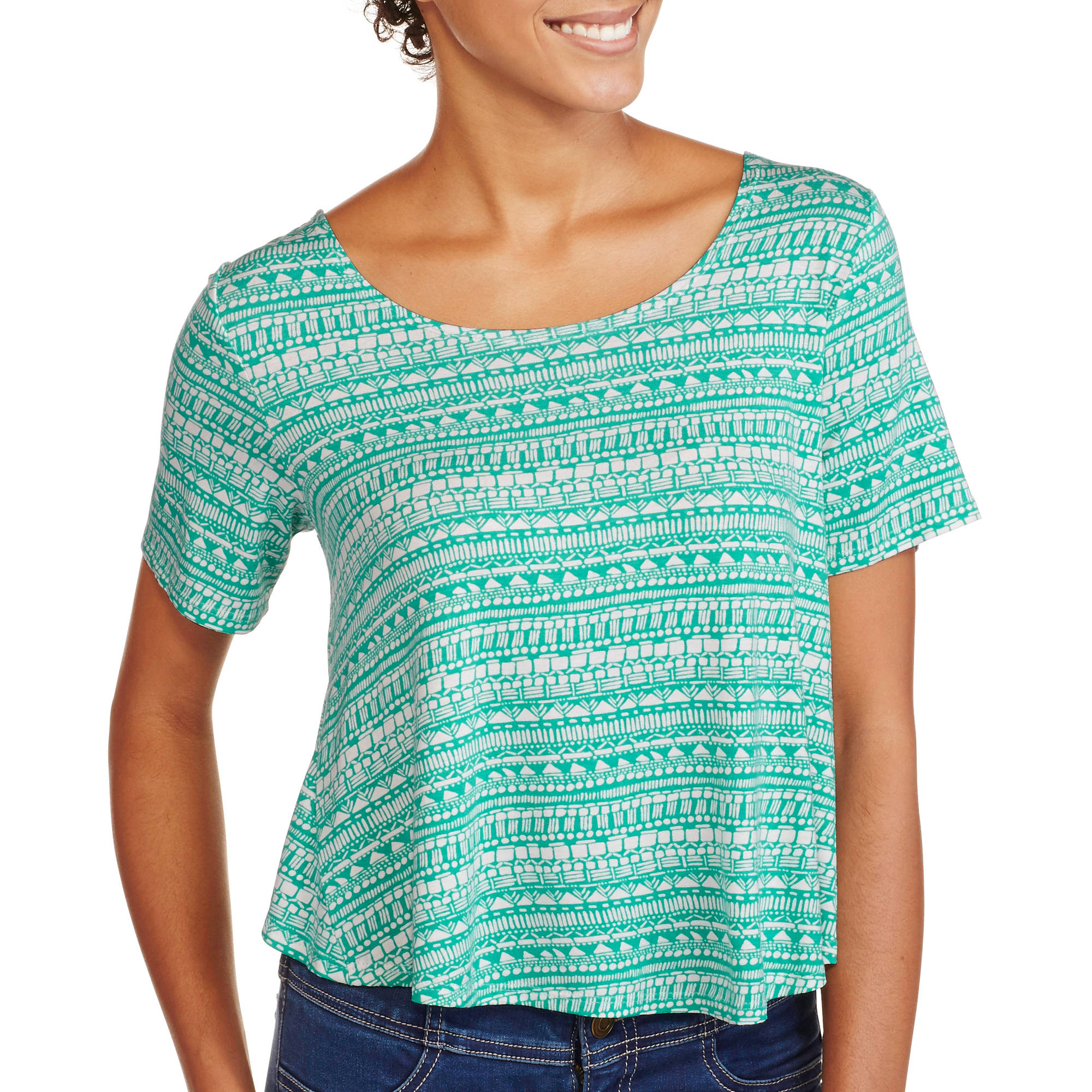 Juniors' Short Sleeve Scoop Neck Envelope Back Aztec Crop Top
