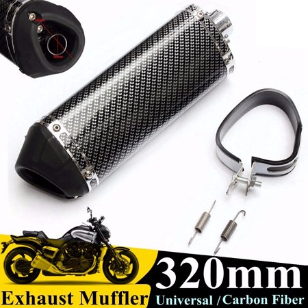 38mm Carbon Fiber Motorcycle Exhaust Muffler Tail Pipe Tip w/ Removable Silencer Universal New