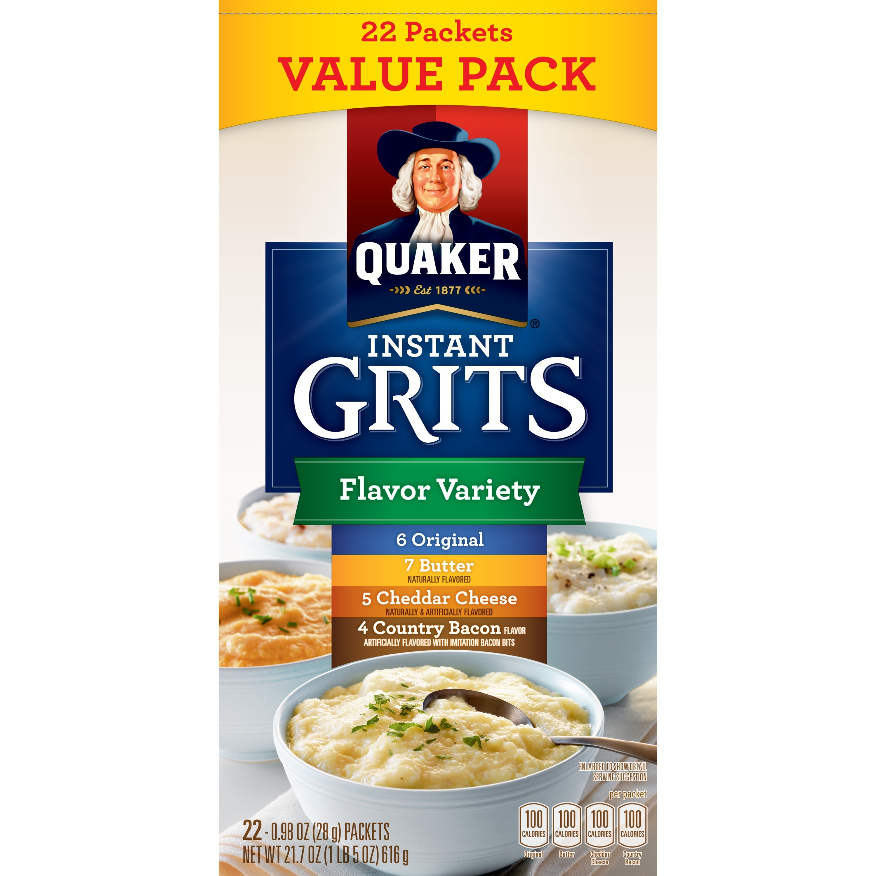 Quaker Instant Grits Flavor Variety Pack, 22 Packets