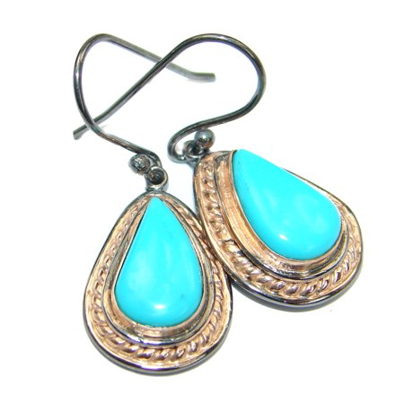 Genuine Sleeping Beauty Turquoise Gold Rhodium over .925  Sterling Silver handmade  earrings by SilverRush Style