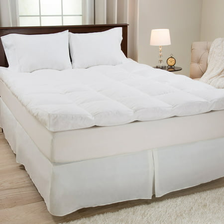 Lavish Home 4 in. Down & Duck Feather Gusset Mattress Topper (Down Feather Mattress Pad)