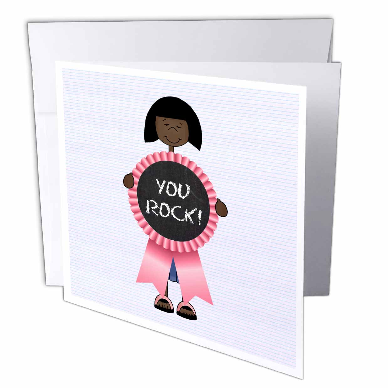 3dRose Little Dark Haired Girl with Pink YOU ROCK Ribbon, Greeting Cards, 6 x 6 inches, set of 12