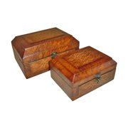 Cheung's FP-2241-2 2 Wooden Rectangular Lined Decorative Boxes (Set of 2)