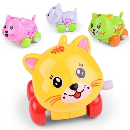 Outtop Clockwork Funny Toy Cartoon Cat Clockwork Car Educational Toys