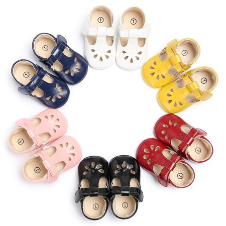 Newborn Baby Crib Infant Toddler Girl Leather Princess Soft Sole Shoes Sandals Red 11 ()