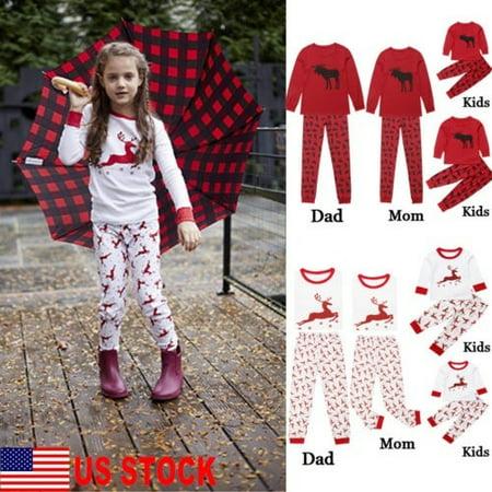US Family Matching Kids Mom Dad Christmas Reindeer Nightwear Xmas Pajamas Outfit - Pajamas Family Matching