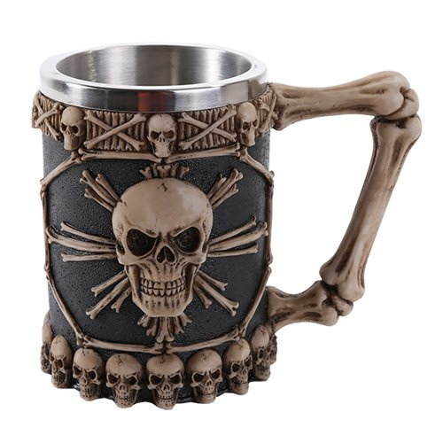 Tribal Skull Ossuary Skull Beer Mug Stein Tankard Stainless Steel Skulls Decor Gift by Pacific Giftware