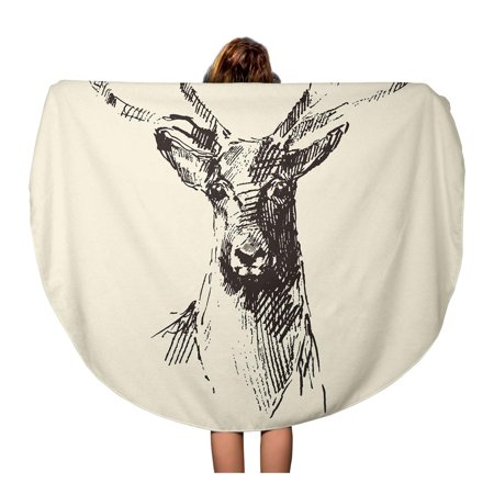 KDAGR 60 inch Round Beach Towel Blanket Dear Deer Head Engraving Vintage Sketch Stag Black Lithograph Travel Circle Circular Towels Mat Tapestry Beach Throw