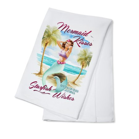 Huntington Beach, CA - Mermaid Kisses & Starfish Wishes - Watercolor - Lantern Press Artwork (100% Cotton Kitchen (Pizza D Oro Menu Huntington Beach Ca)