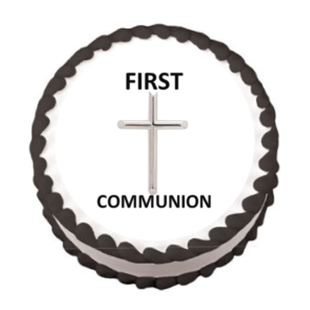 Silver First Communion Edible Frosting Sheet Photo Image Cake Topper](First Communion Cake Topper)