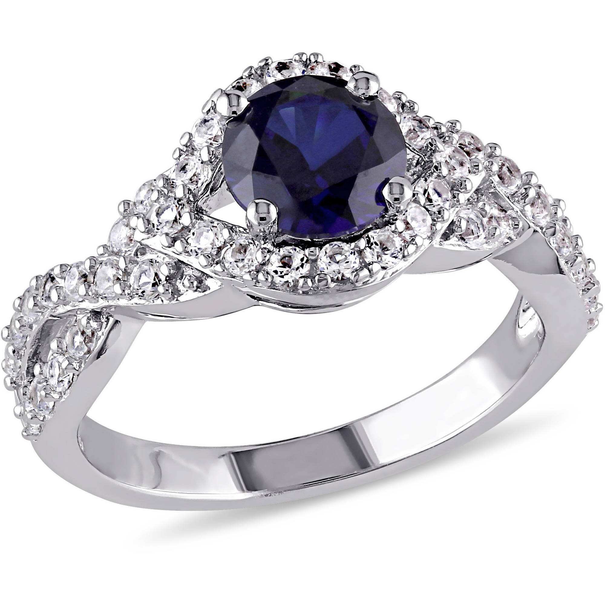 2-1/10 Carat T.G.W. Created Blue and White Sapphire Sterling Silver Halo Engagement Ring