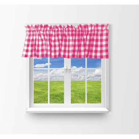cotton gingham checkered window valance 58 wide fuchsia (Pink Gingham Curtains)