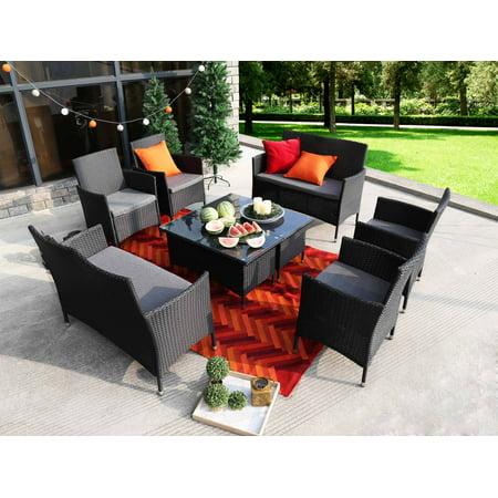 Baner Garden 8 Pieces Outdoor Furniture Complete Patio Wicker Rattan Garden Set, Black (N68-BL-2) ()