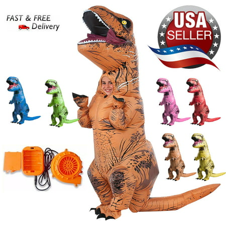 Simple Halloween Outfits Adults (Adults Inflatable Dinosaur T-REX Costume Child Jurassic Halloween Blowup)