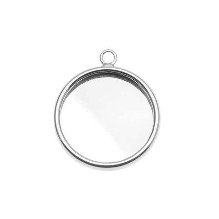 Silver Plated Round Bezel Pendant - 18.5mm Diameter (1)