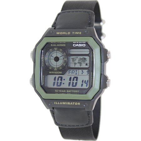 - Men's Illuminator AE1200WHB-1BV Digital Cloth Quartz Fashion Watch