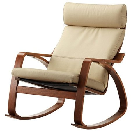 ikea poang rocking chair medium brown with robust off white leather cushion. Black Bedroom Furniture Sets. Home Design Ideas