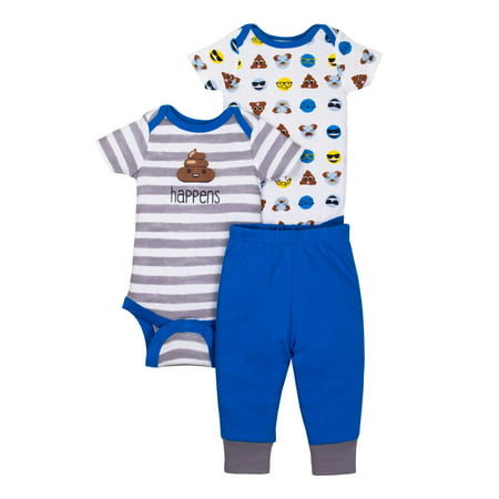 Newborn Baby Boy Short Sleeve Bodysuits & Pants, 3pc Outfit Set - Newborn Halloween Outfit