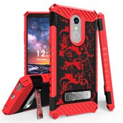 Beyond Cell Rugged Military Grade Drop Tested [MIL-STD 810G-516.6] Kickstand Cover Case and Atom Cloth for LG Stylo 4+ Plus/LG Stylo 4 (2018) - Red Vines