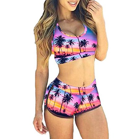 SAYFUT Fashion Print Tank Sports Bikini Set Boyshort Padded Swimsuit Bathing Suits for Women