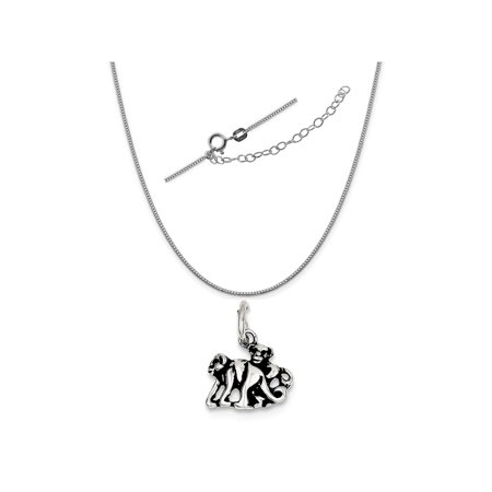 Sterling Silver Antiqued Monkey Charm on a 0.90mm Box Chain Necklace, 18