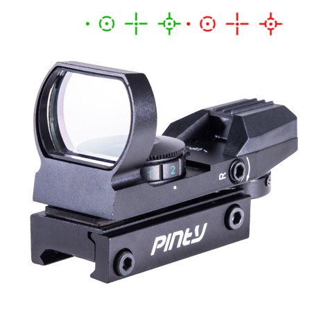 Pinty Usa Tactical Holographic Reflex Red Green Dot Sight 4 Type Reticle With 20Mm Rails