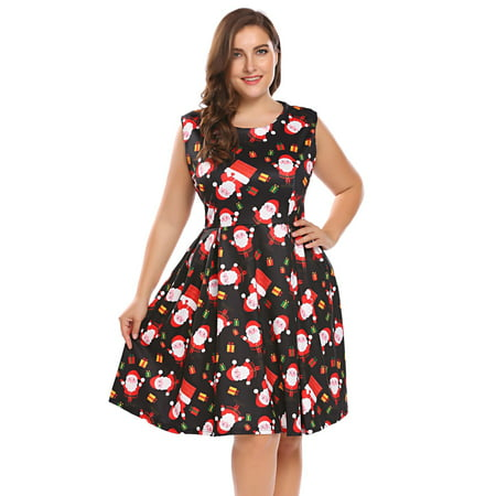 Women Plus Size Xmas Printing Sleeveless Fit and Flare Party Cocktail Dress HITC](Plus Size Christmas Dresses)