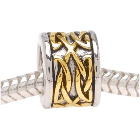22K Gold Plated Celtic Knot Silver Tone Bead - European Style Large Hole (1) (Bristle Stringer Bead Knot)