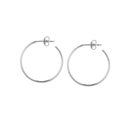 14k White Gold Small Hoop Earrings 25mm With Post