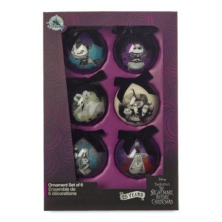Disney 25th The Nightmare Before Christmas Glitter Ball Ornament Set New w -
