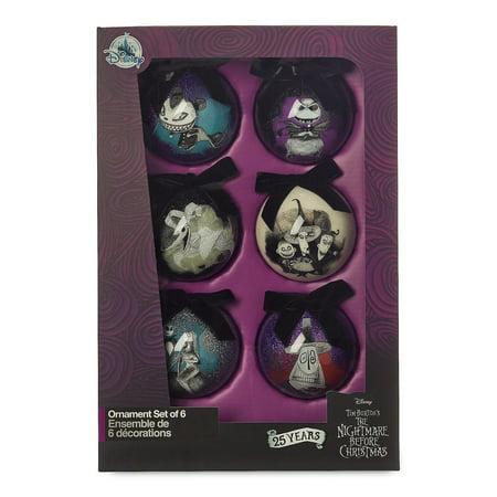 Disney 25th The Nightmare Before Christmas Glitter Ball Ornament Set New w - Disney Ornament Set