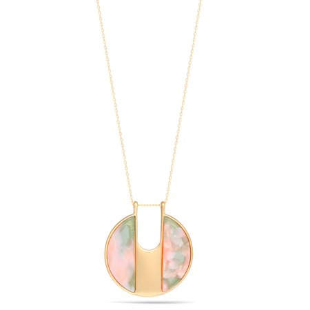 TAZZA WOMEN'S GREEN AND PINK ACETATE RESIN GOLD PENDANT (Chain Navy Necklace)